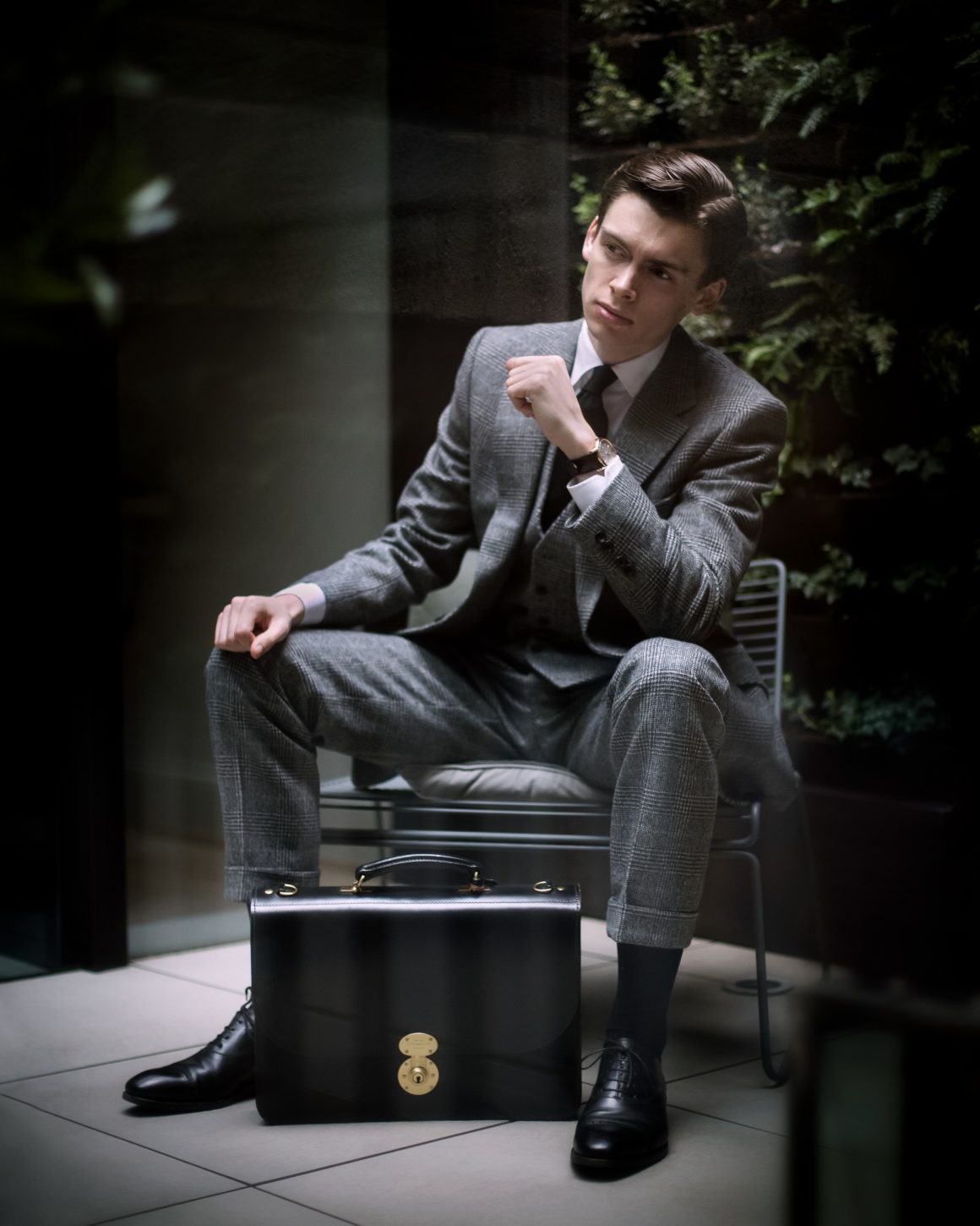 Mathias le Fevre with Ettinger London - Heritage, Westminster Flap-Over Briefcase - wearing Gieves & Hawkes Made to Measure suit