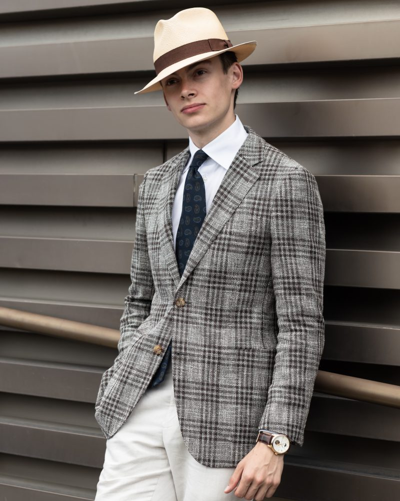 mathias le Fevre pitti uomo 94 street style gentleman elegant brown check jacket white Eton shirt navy paisley wool tie sera fine silk light brown trouser Alfred Panama hat laird hatters