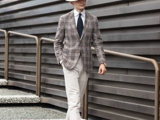 mathias le Fevre pitti uomo 94 street style gentleman elegant brown check jacket white Eton shirt navy paisley wool tie sera fine silk light brown trouser Alfred Panama hat laird hatters carmina shoemaker calf leather tassel loafers