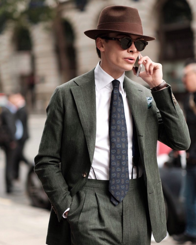 mathias-le-fevre-ss19_london_fashion_week_mens_lfwm_wearing tailor made London bespoke suit in Solbiati cloth laird hatter Vacheron Constantin watch sera fine silk tie and Turnbull and asser braces.jpg